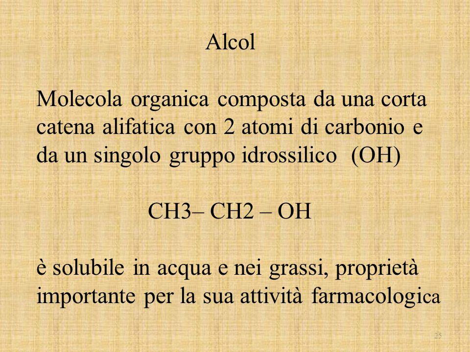 Alcol Molecola organica composta da una corta catena alifatica con 2 atomi di carbonio e da un singolo gruppo idrossilico (OH)
