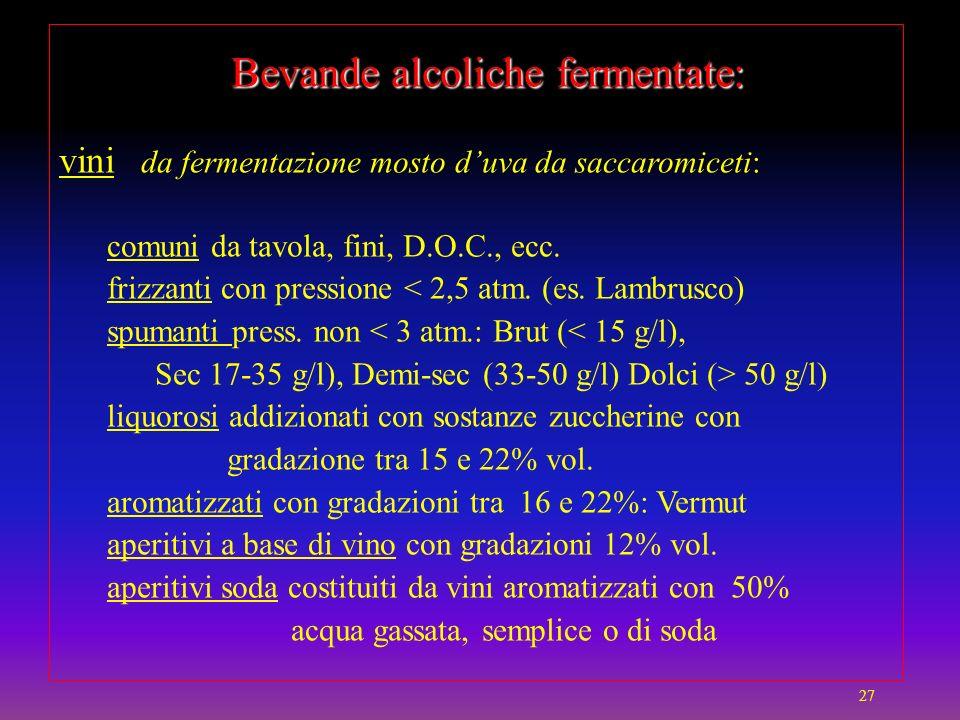 Bevande alcoliche fermentate: vini da fermentazione mosto d'uva da saccaromiceti: comuni da tavola, fini, D.O.C., ecc.