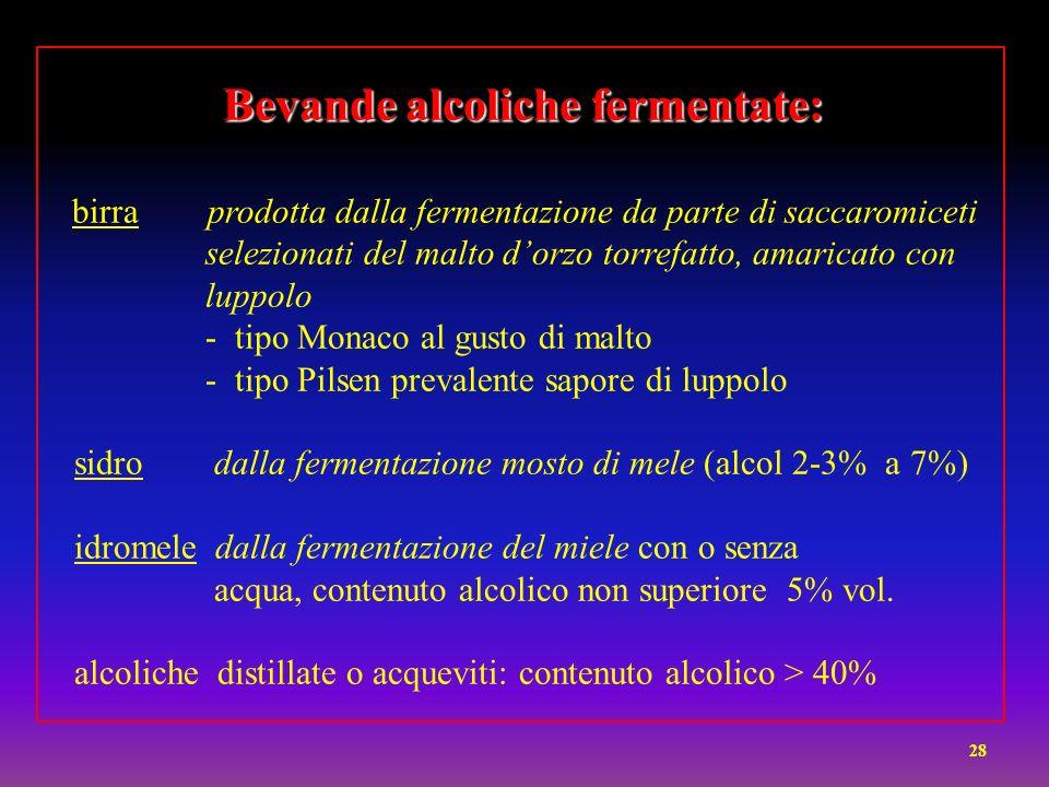 Bevande alcoliche fermentate: birra prodotta dalla fermentazione da parte di saccaromiceti selezionati del malto d'orzo torrefatto, amaricato con luppolo - tipo Monaco al gusto di malto - tipo Pilsen prevalente sapore di luppolo sidro dalla fermentazione mosto di mele (alcol 2-3% a 7%) idromele dalla fermentazione del miele con o senza acqua, contenuto alcolico non superiore 5% vol.
