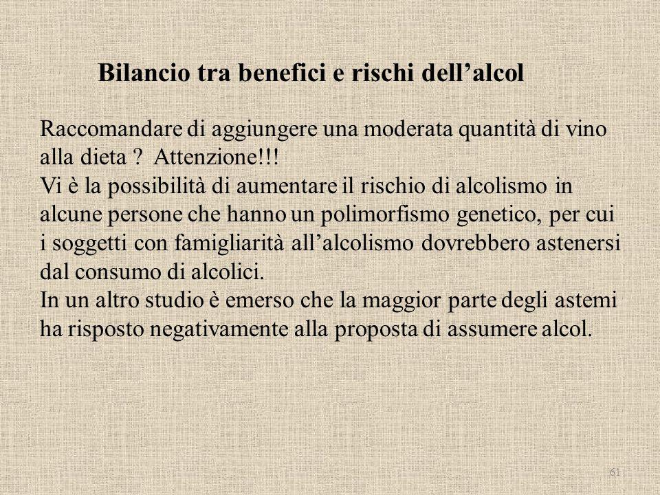 Bilancio tra benefici e rischi dell'alcol Raccomandare di aggiungere una moderata quantità di vino alla dieta .