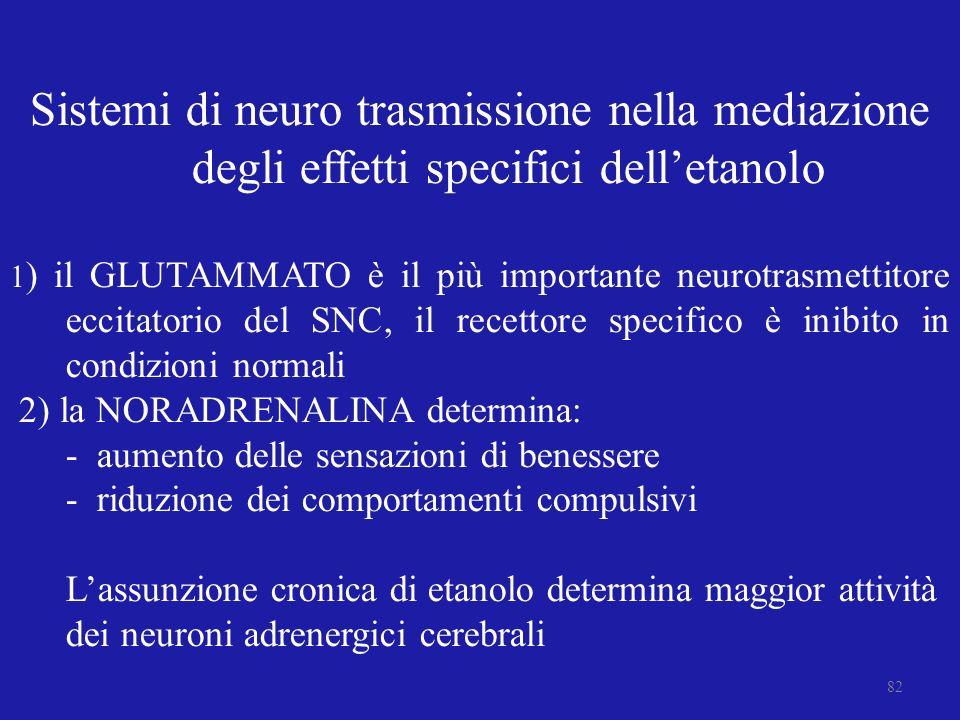Sistemi di neuro trasmissione nella mediazione degli effetti specifici dell'etanolo
