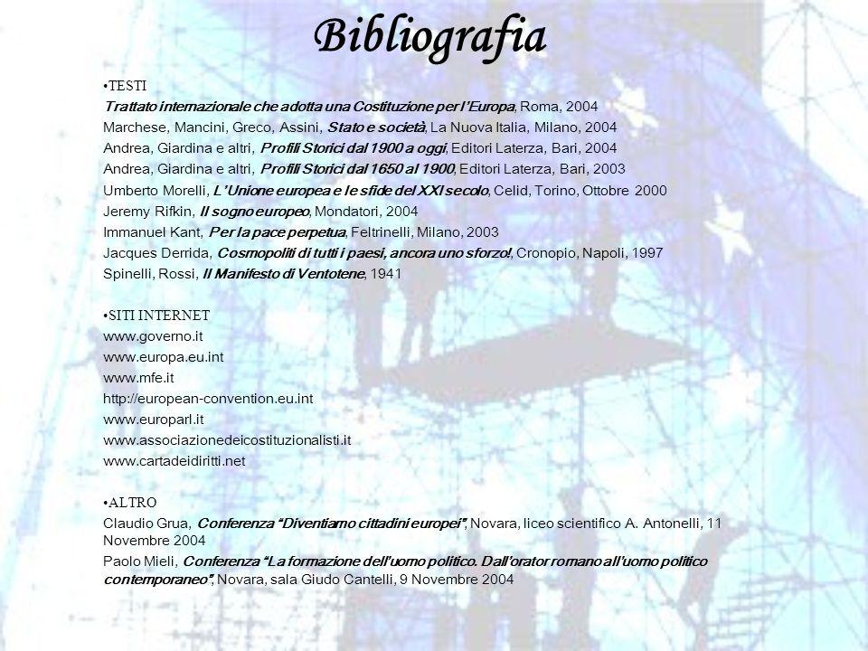 BibliografiaTESTI. Trattato internazionale che adotta una Costituzione per l'Europa, Roma, 2004.