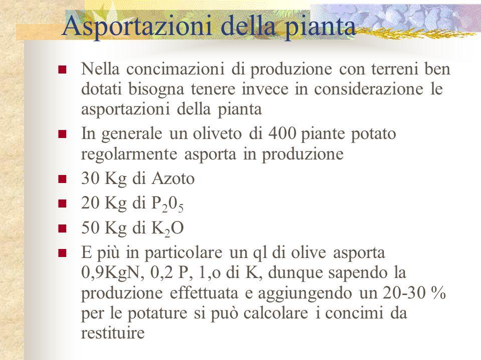 Asportazioni della pianta