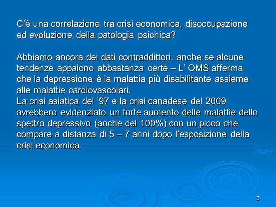 C'è una correlazione tra crisi economica, disoccupazione