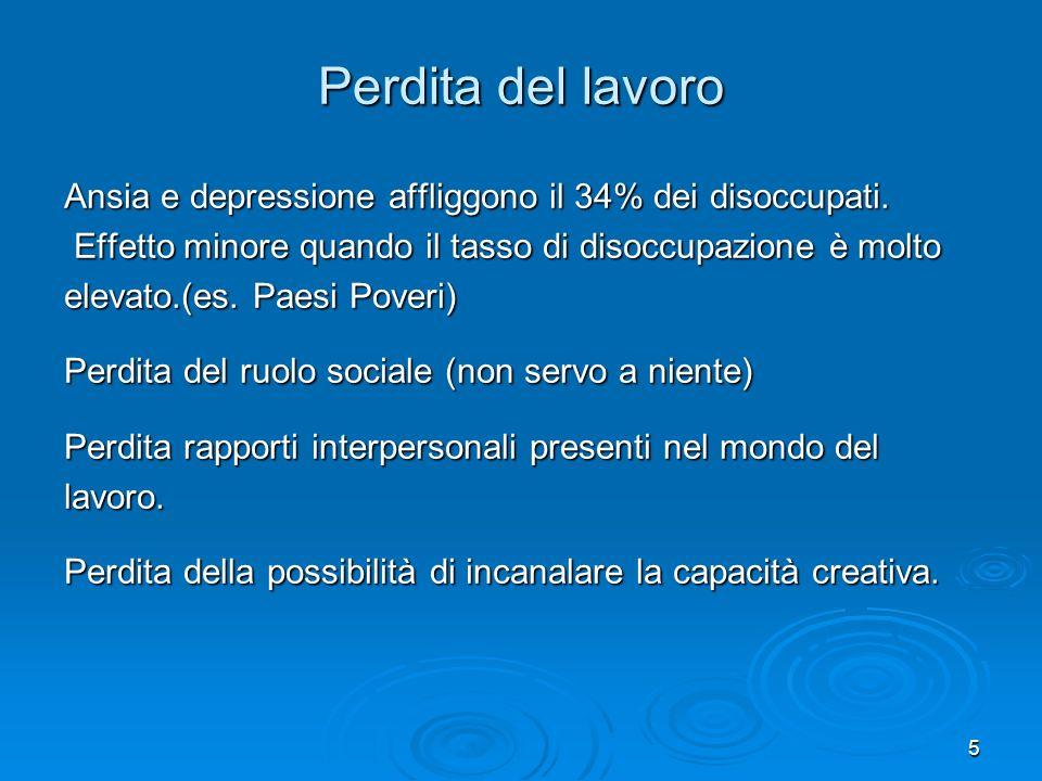 Perdita del lavoro Ansia e depressione affliggono il 34% dei disoccupati. Effetto minore quando il tasso di disoccupazione è molto.