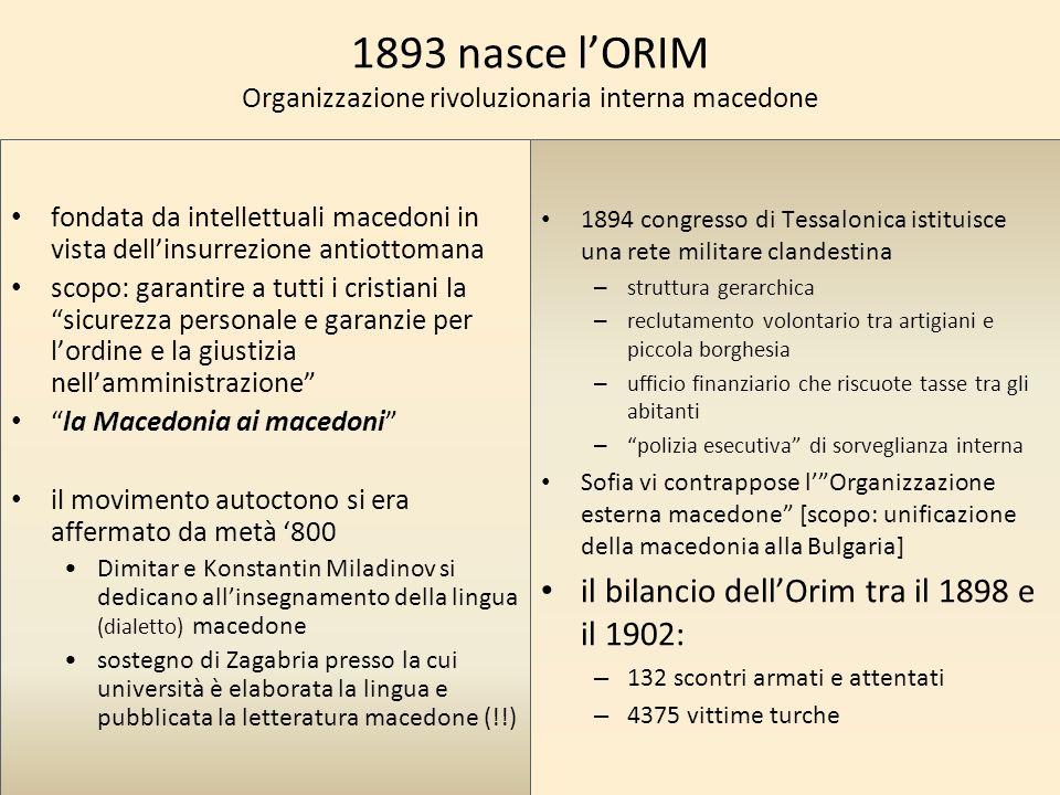 1893 nasce l'ORIM Organizzazione rivoluzionaria interna macedone