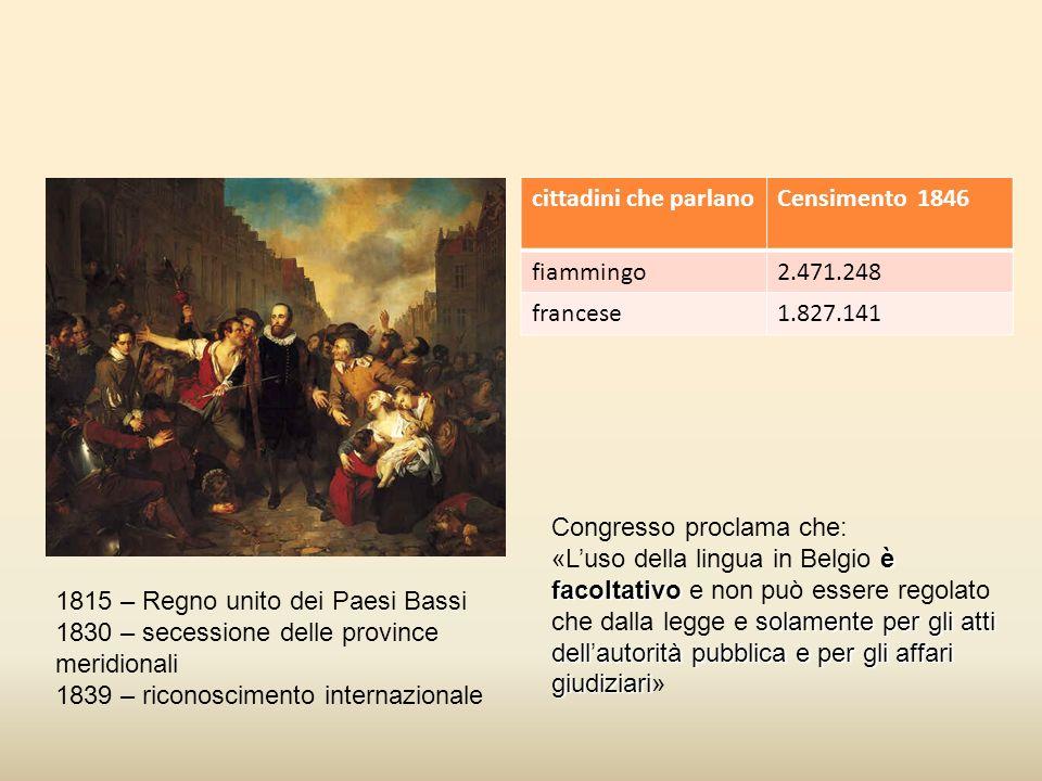 cittadini che parlano Censimento 1846. fiammingo. 2.471.248. francese. 1.827.141. Congresso proclama che: