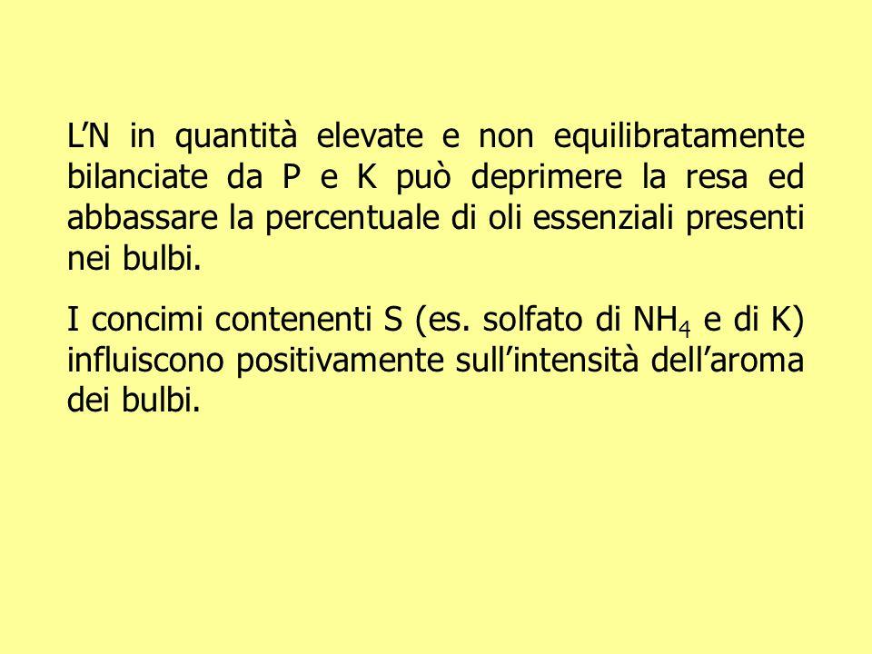 L'N in quantità elevate e non equilibratamente bilanciate da P e K può deprimere la resa ed abbassare la percentuale di oli essenziali presenti nei bulbi.