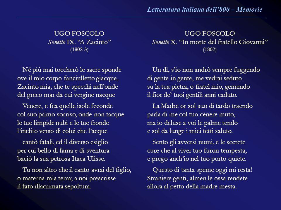 Sonetto X. In morte del fratello Giovanni