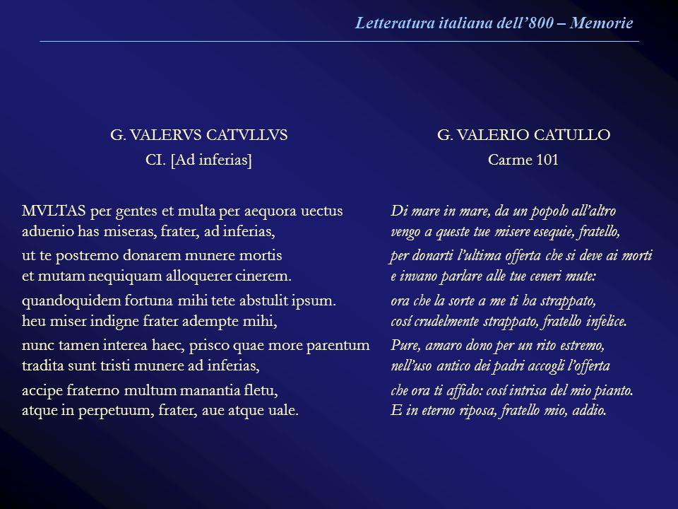 Letteratura italiana dell'800 – Memorie