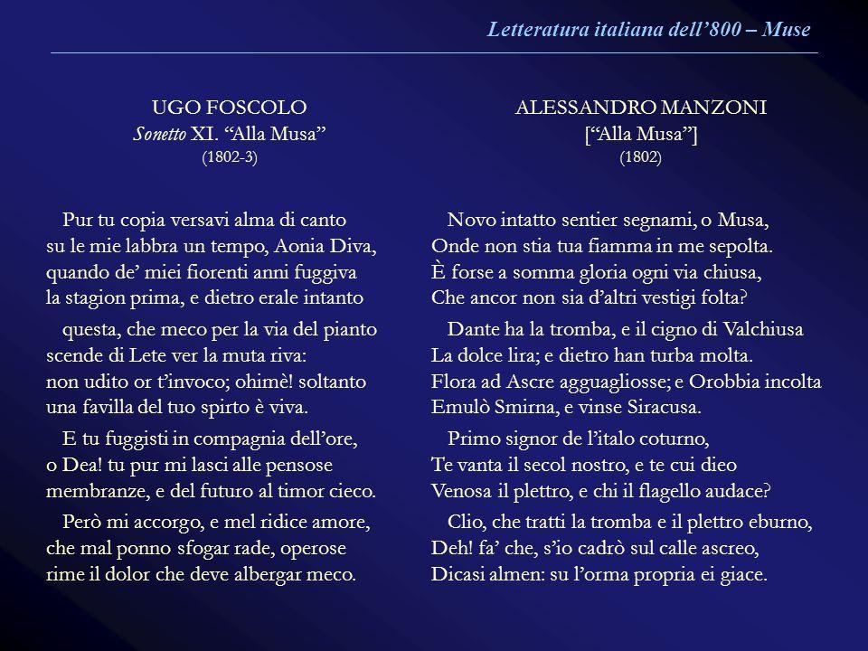 Letteratura italiana dell'800 – Muse UGO FOSCOLO