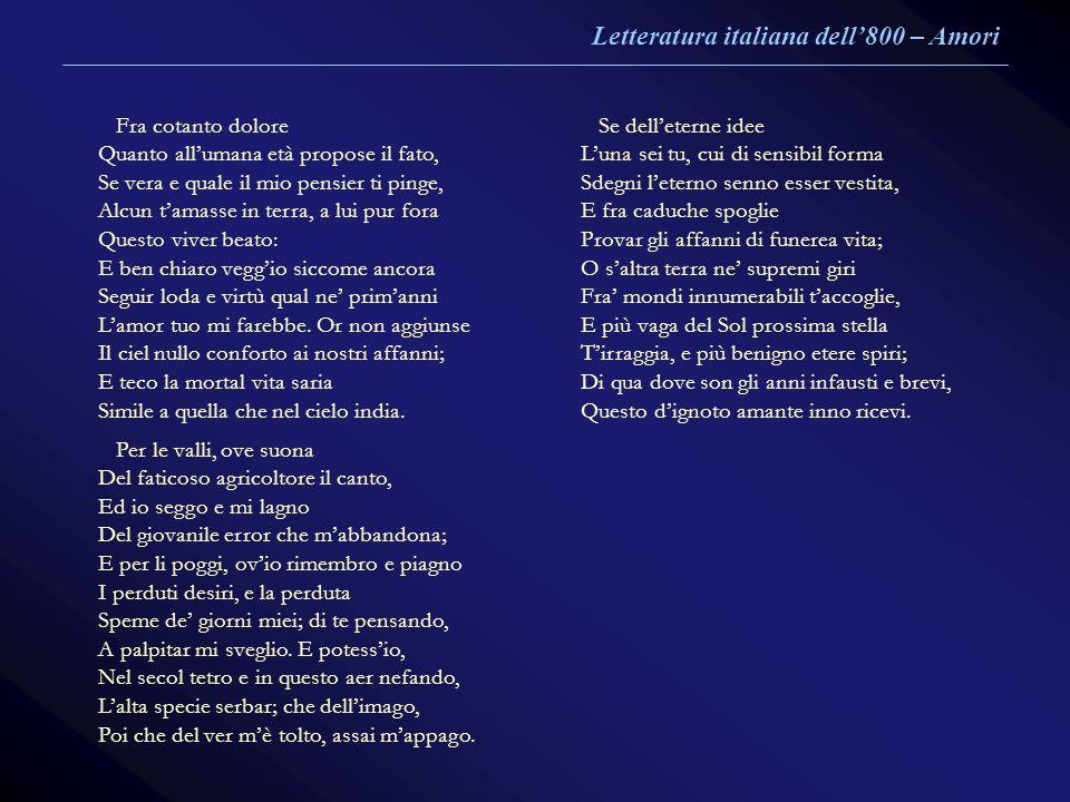 Letteratura italiana dell'800 – Amori