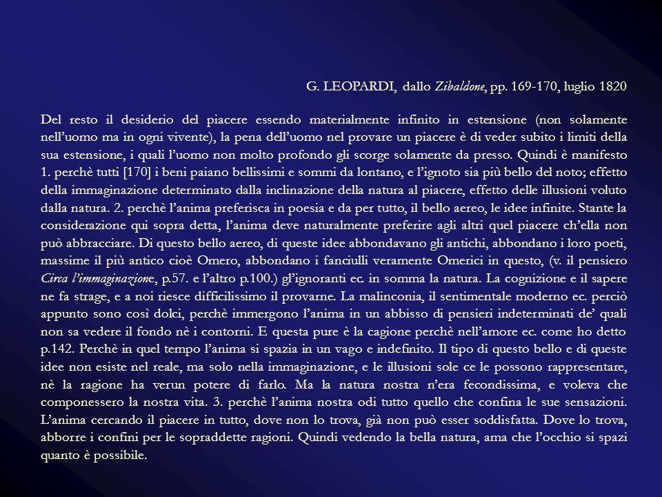 G. LEOPARDI, dallo Zibaldone, pp. 169-170, luglio 1820