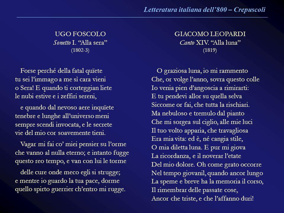 Letteratura italiana dell'800 – Crepuscoli UGO FOSCOLO