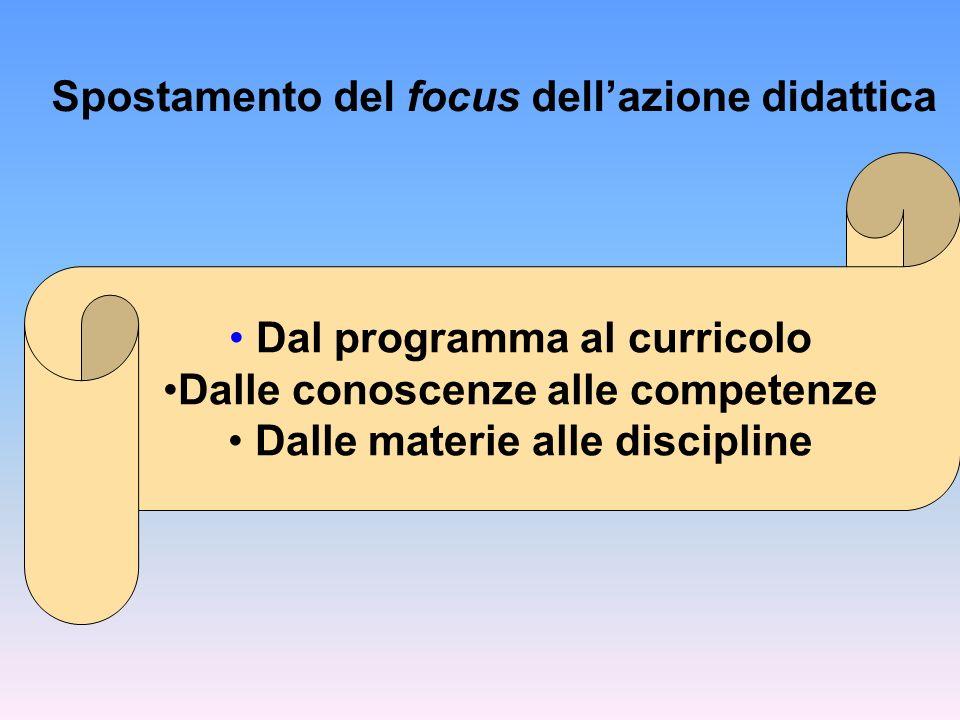 Spostamento del focus dell'azione didattica