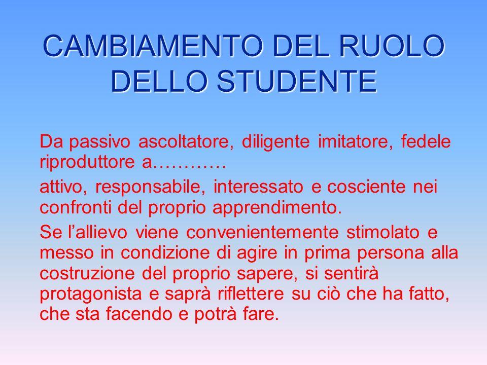 CAMBIAMENTO DEL RUOLO DELLO STUDENTE