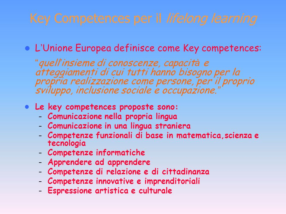 Key Competences per il lifelong learning