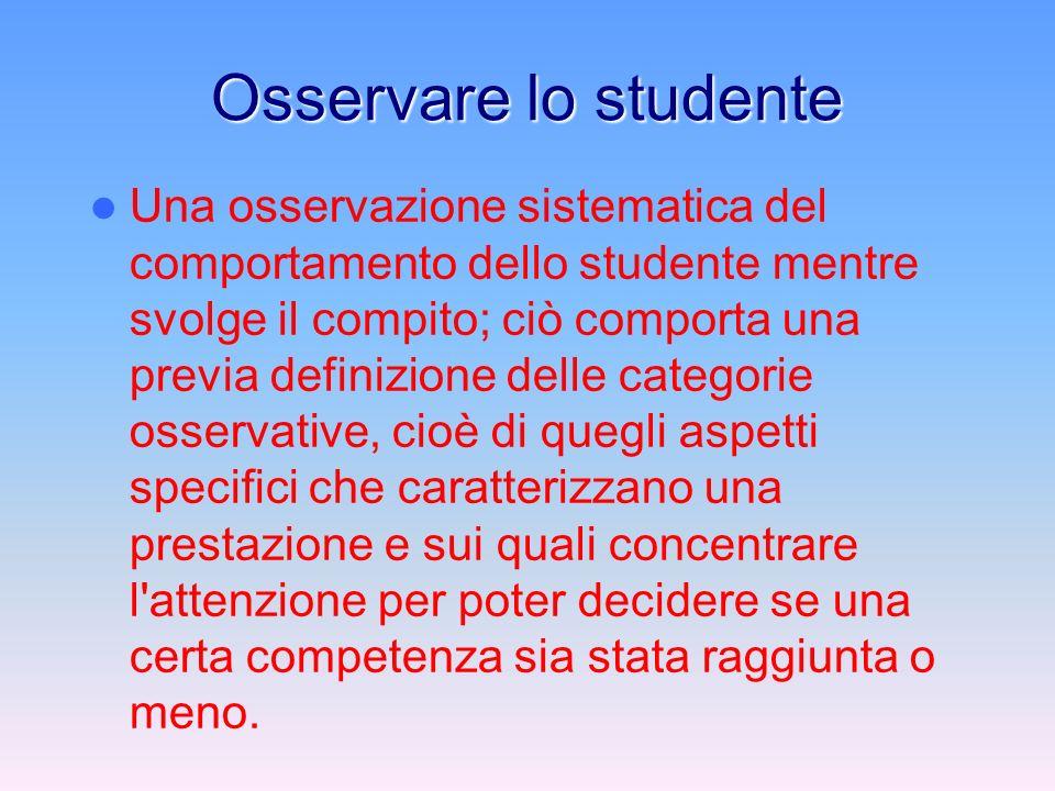 Osservare lo studente