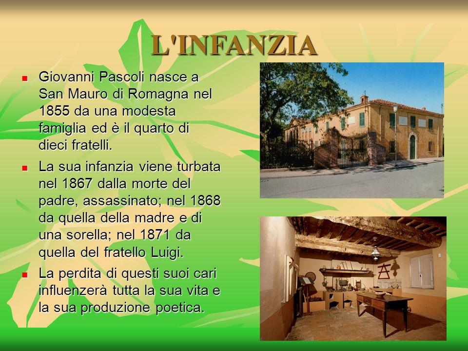 L INFANZIA Giovanni Pascoli nasce a San Mauro di Romagna nel 1855 da una modesta famiglia ed è il quarto di dieci fratelli.
