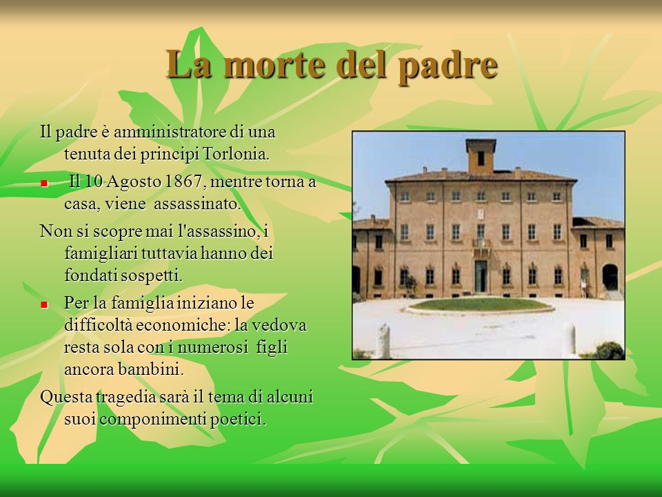 La morte del padre Il padre è amministratore di una tenuta dei principi Torlonia. Il 10 Agosto 1867, mentre torna a casa, viene assassinato.