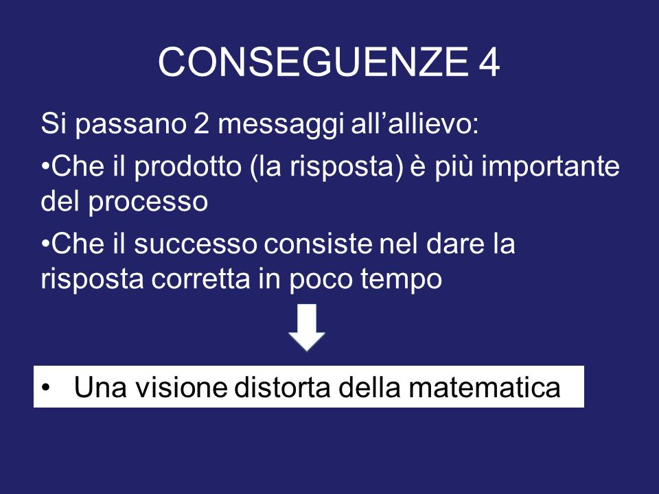 CONSEGUENZE 4 Si passano 2 messaggi all'allievo: