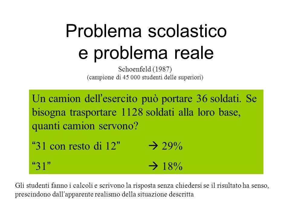 Problema scolastico e problema reale