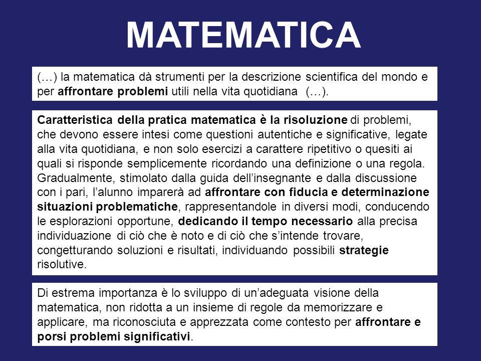 MATEMATICA (…) la matematica dà strumenti per la descrizione scientifica del mondo e per affrontare problemi utili nella vita quotidiana (…).