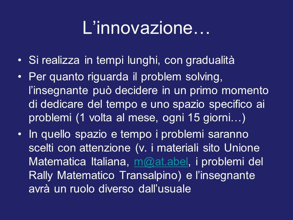 L'innovazione… Si realizza in tempi lunghi, con gradualità