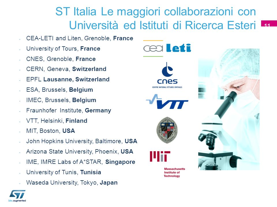 1111 ST Italia Le maggiori collaborazioni con Università ed Istituti di Ricerca Esteri. 11. CEA-LETI and Liten, Grenoble, France.