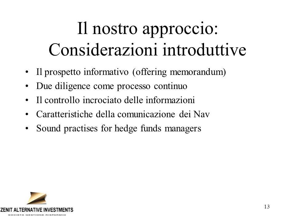 Il nostro approccio: Considerazioni introduttive