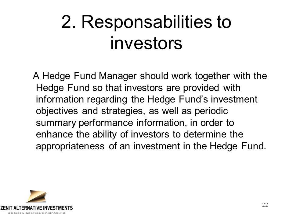 2. Responsabilities to investors