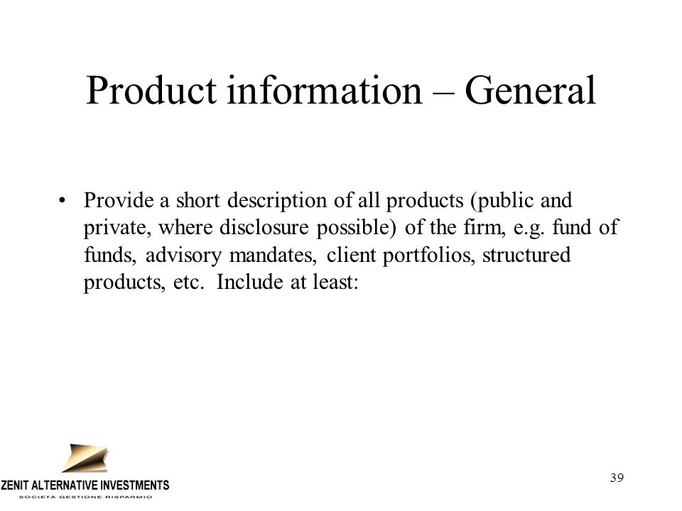Product information – General
