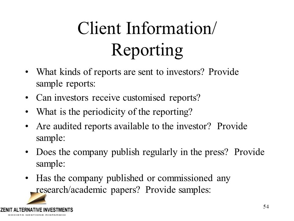 Client Information/ Reporting