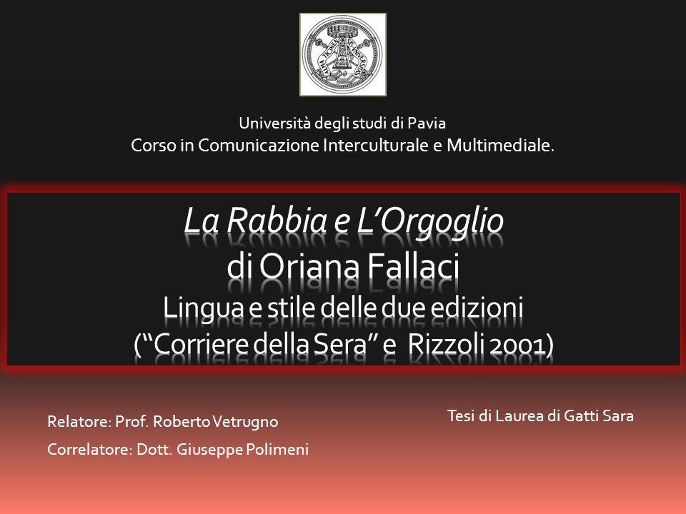 Relatore: Prof. Roberto Vetrugno Correlatore: Dott. Giuseppe Polimeni
