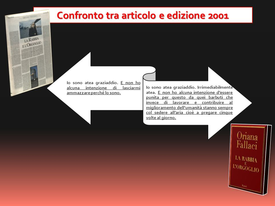 Confronto tra articolo e edizione 2001