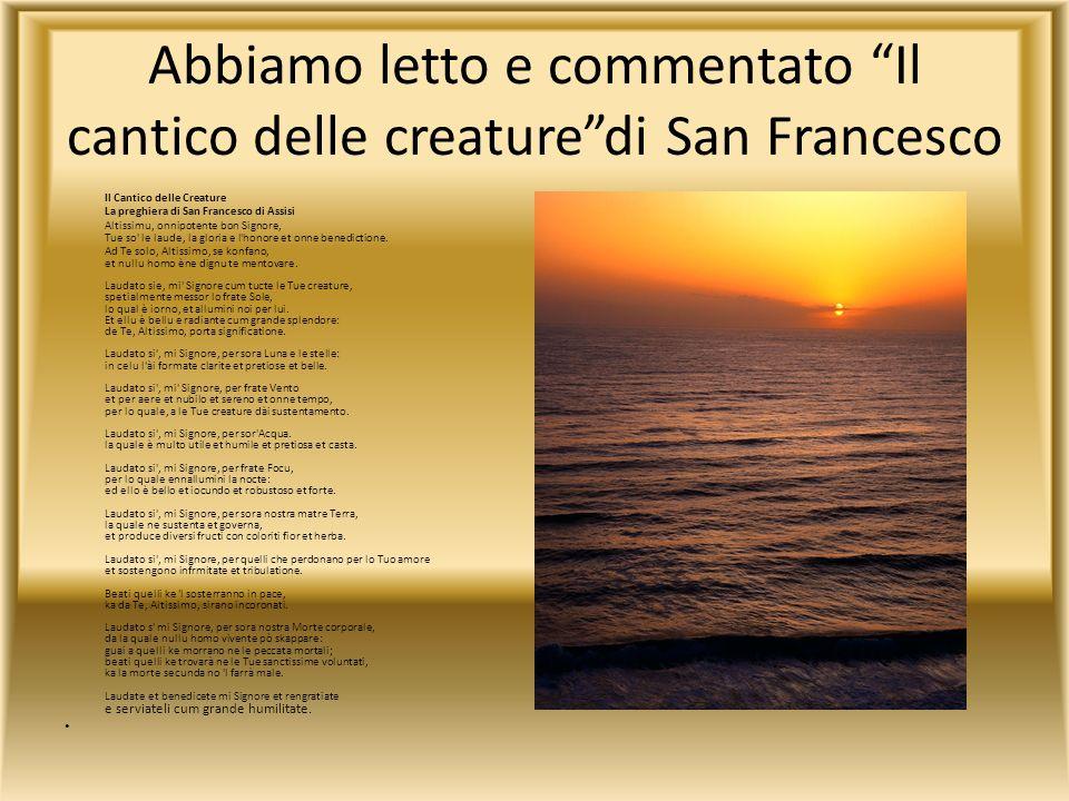Abbiamo letto e commentato Il cantico delle creature di San Francesco