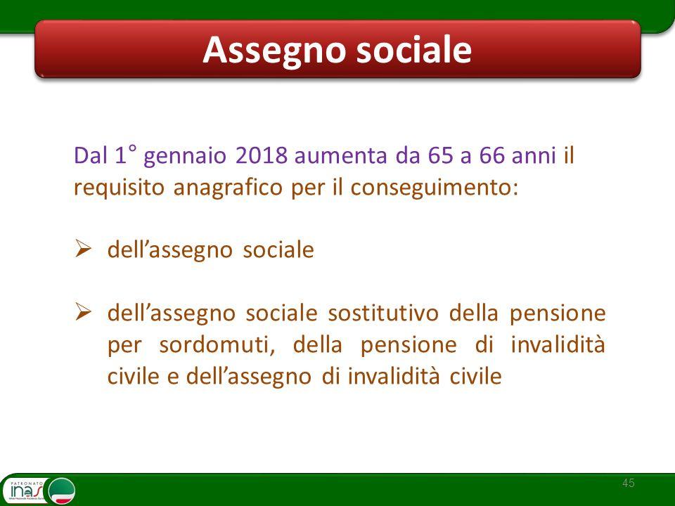 Assegno sociale Dal 1° gennaio 2018 aumenta da 65 a 66 anni il requisito anagrafico per il conseguimento: