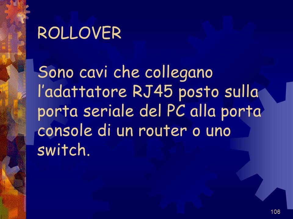 ROLLOVER Sono cavi che collegano l'adattatore RJ45 posto sulla porta seriale del PC alla porta console di un router o uno switch.