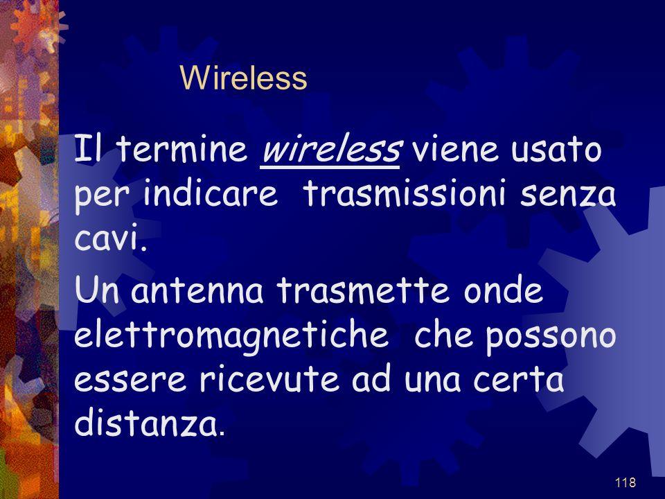 Il termine wireless viene usato per indicare trasmissioni senza cavi.