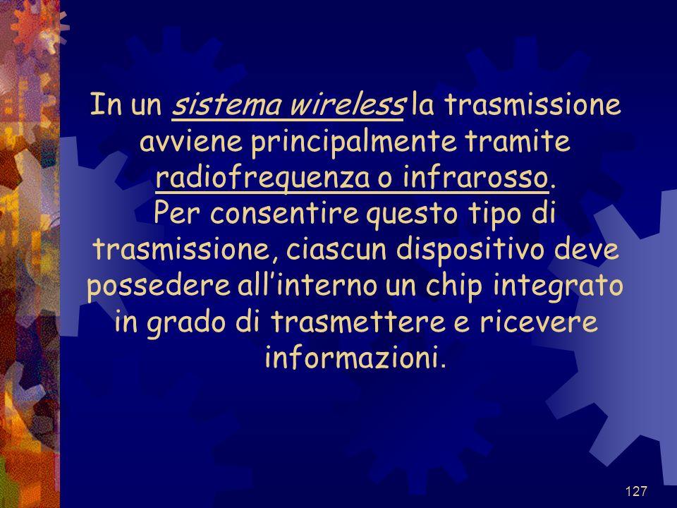 In un sistema wireless la trasmissione avviene principalmente tramite radiofrequenza o infrarosso.
