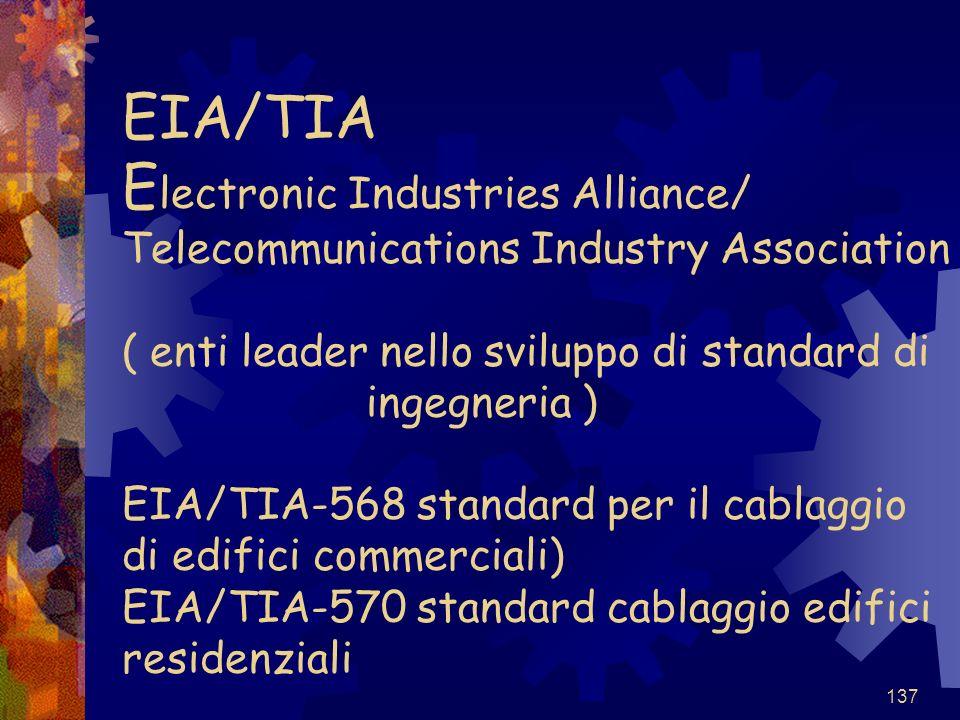 EIA/TIA Electronic Industries Alliance/ Telecommunications Industry Association ( enti leader nello sviluppo di standard di ingegneria ) EIA/TIA-568 standard per il cablaggio di edifici commerciali) EIA/TIA-570 standard cablaggio edifici residenziali