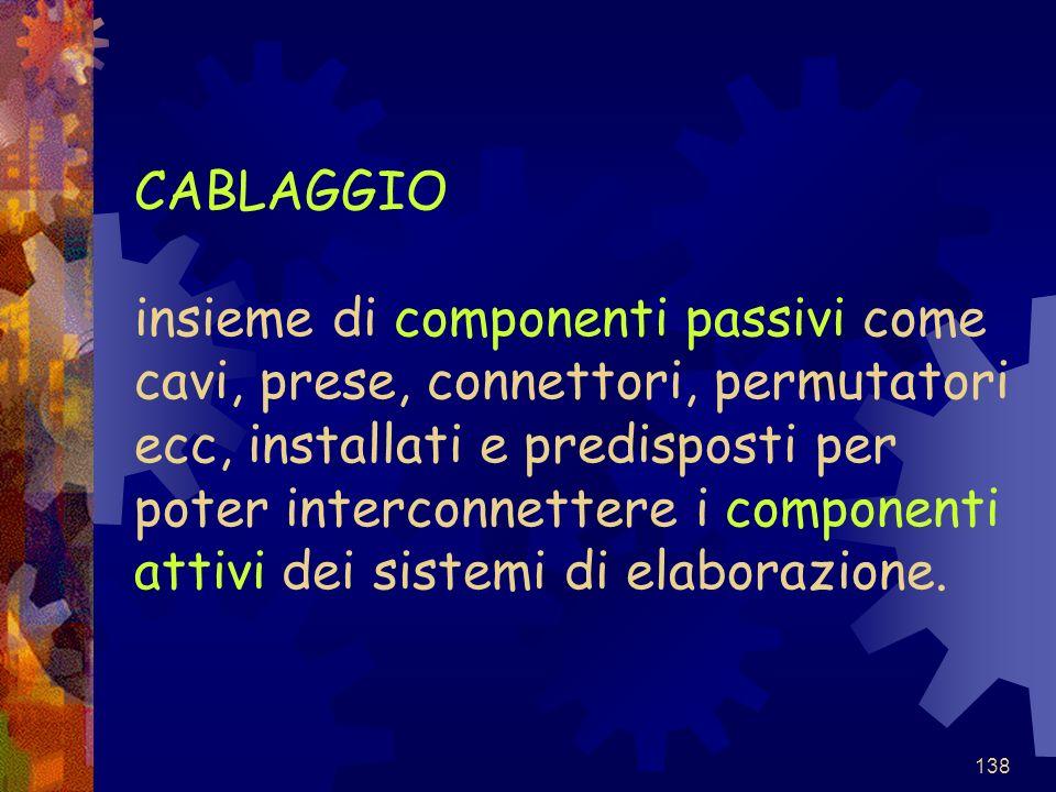 CABLAGGIO insieme di componenti passivi come cavi, prese, connettori, permutatori ecc, installati e predisposti per poter interconnettere i componenti attivi dei sistemi di elaborazione.