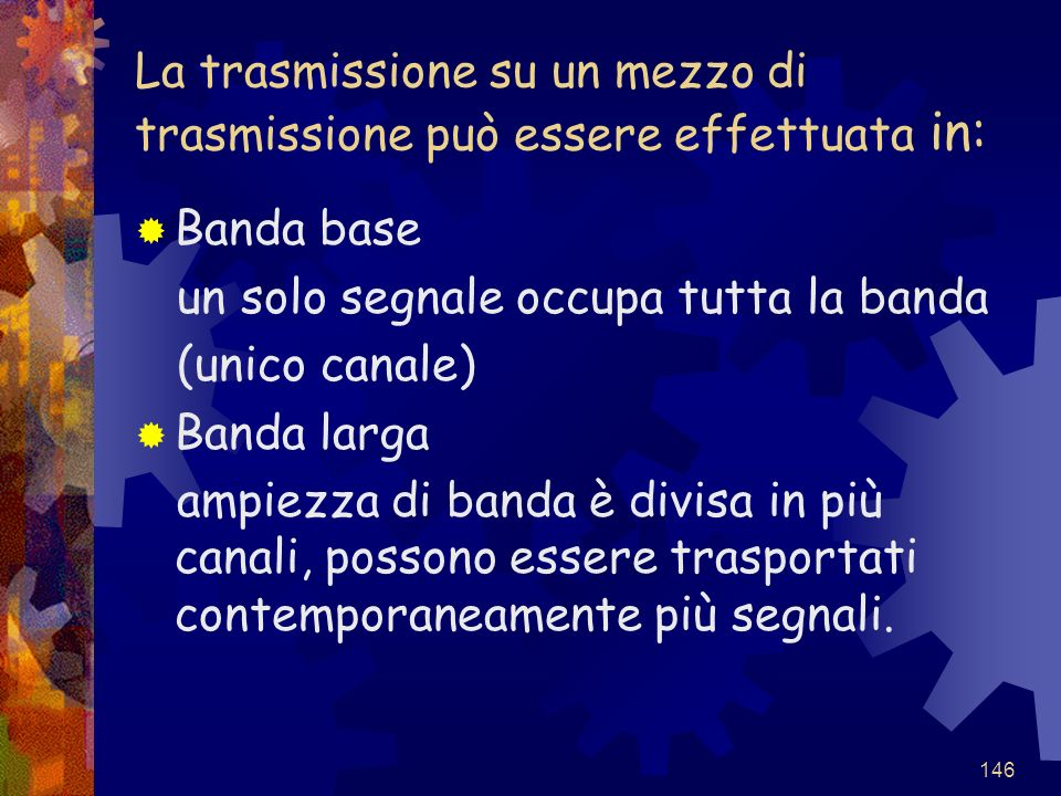 La trasmissione su un mezzo di trasmissione può essere effettuata in: