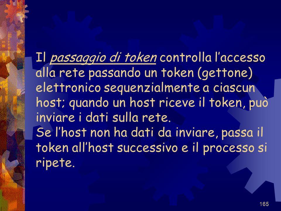 Il passaggio di token controlla l'accesso alla rete passando un token (gettone) elettronico sequenzialmente a ciascun host; quando un host riceve il token, può inviare i dati sulla rete.