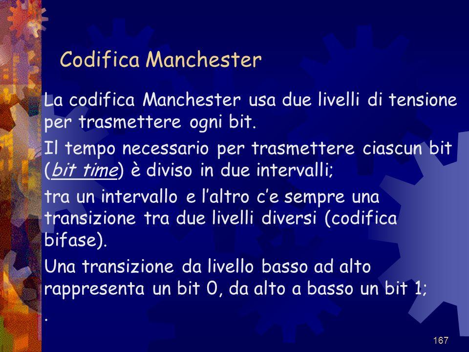 Codifica Manchester La codifica Manchester usa due livelli di tensione per trasmettere ogni bit.