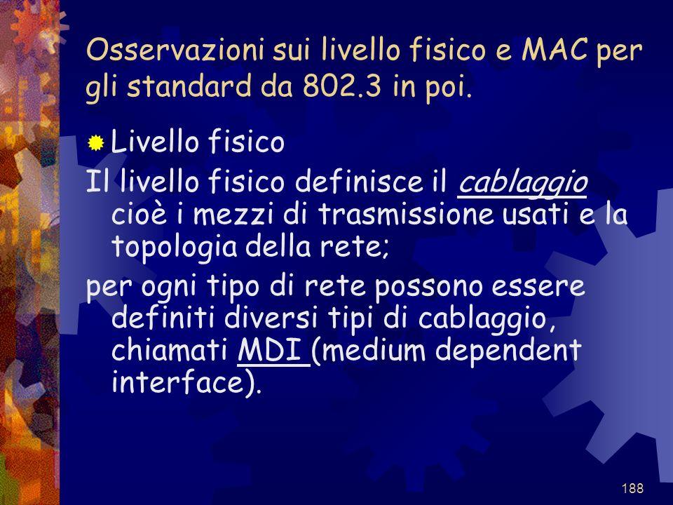 Osservazioni sui livello fisico e MAC per gli standard da 802.3 in poi.