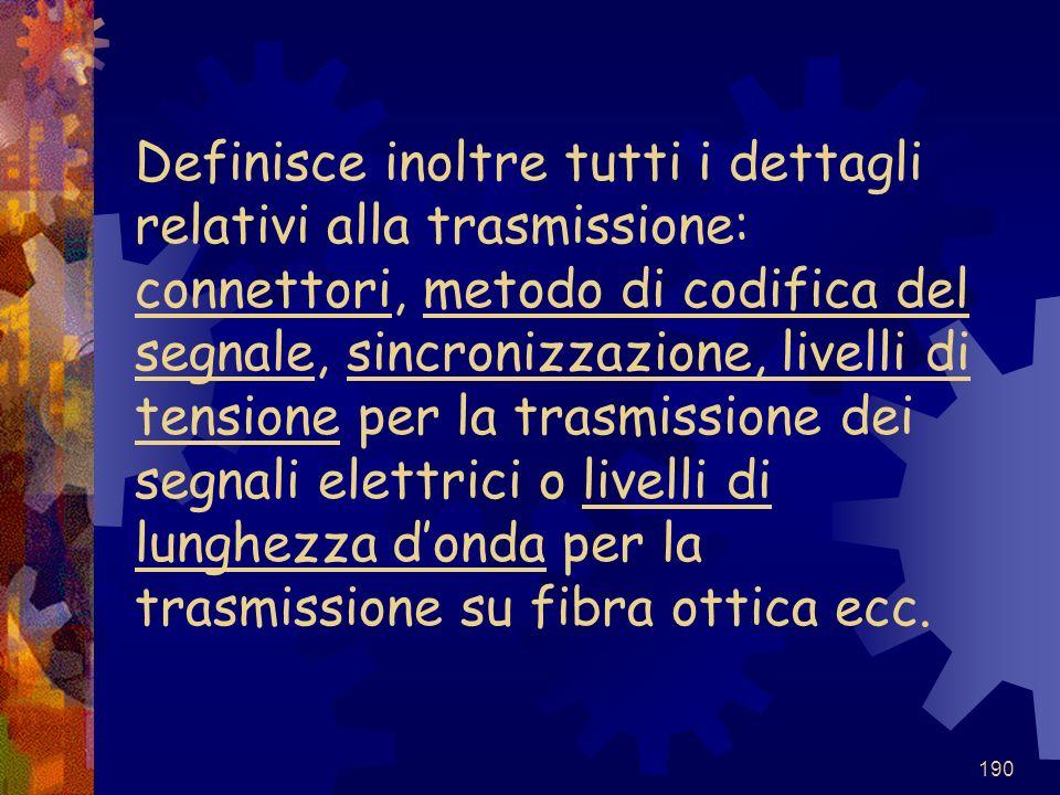 Definisce inoltre tutti i dettagli relativi alla trasmissione: connettori, metodo di codifica del segnale, sincronizzazione, livelli di tensione per la trasmissione dei segnali elettrici o livelli di lunghezza d'onda per la trasmissione su fibra ottica ecc.