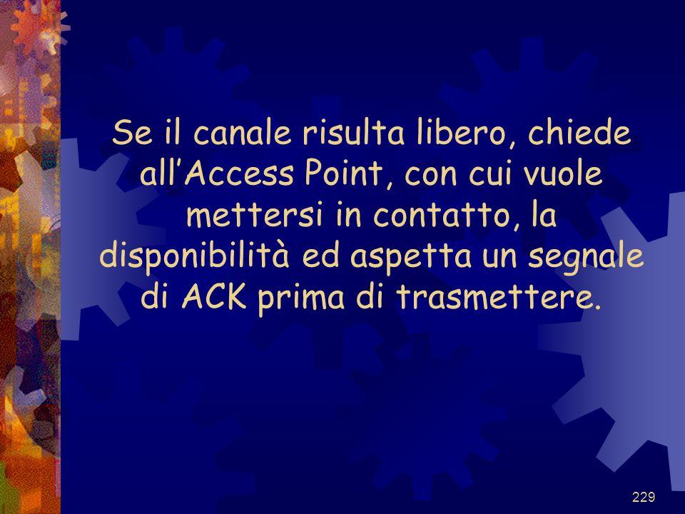 Se il canale risulta libero, chiede all'Access Point, con cui vuole mettersi in contatto, la disponibilità ed aspetta un segnale di ACK prima di trasmettere.