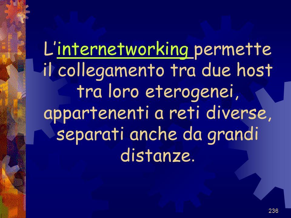L'internetworking permette il collegamento tra due host tra loro eterogenei, appartenenti a reti diverse, separati anche da grandi distanze.