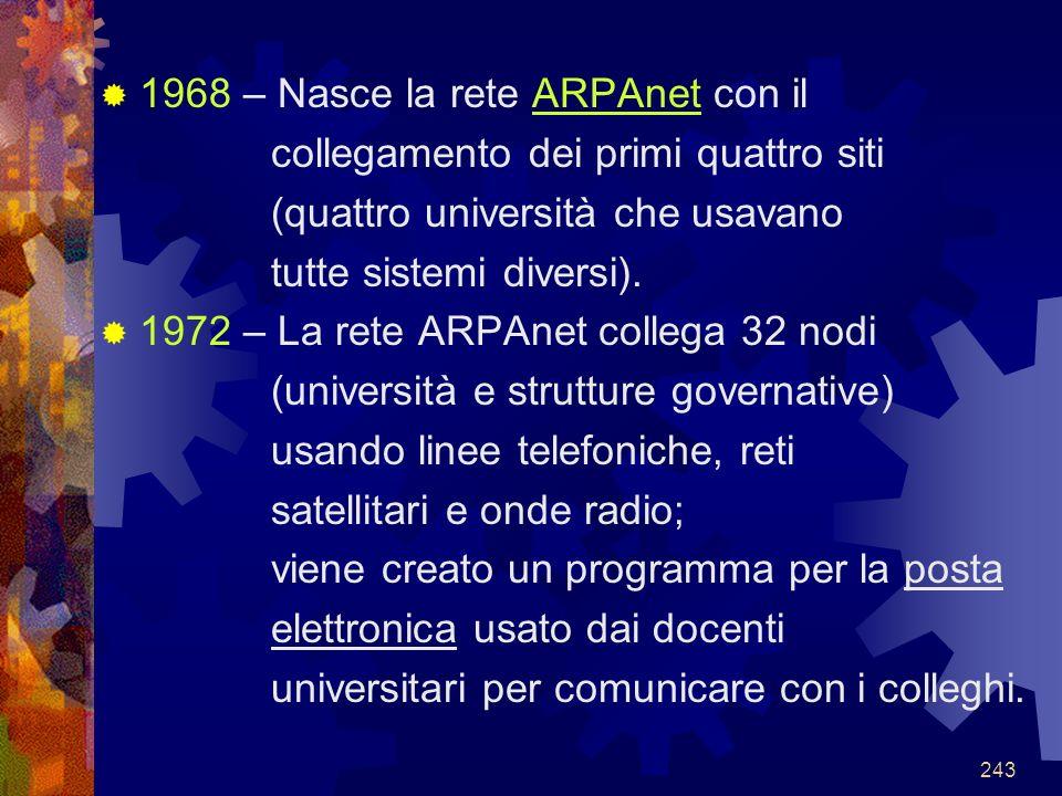 1968 – Nasce la rete ARPAnet con il